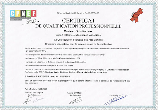 "Certificat de Qualification Professionnelle ""Moniteur d'Arts  Martiaux"" - DEFENSES TACTIQUES"