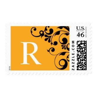 R Orange Color Theme Monogram Wedding Stamp