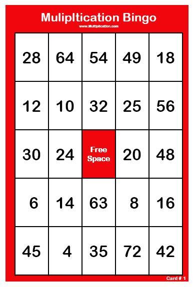 Multiplication Bingo Cards Printable