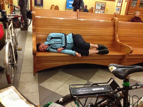 Asta napping in the train station