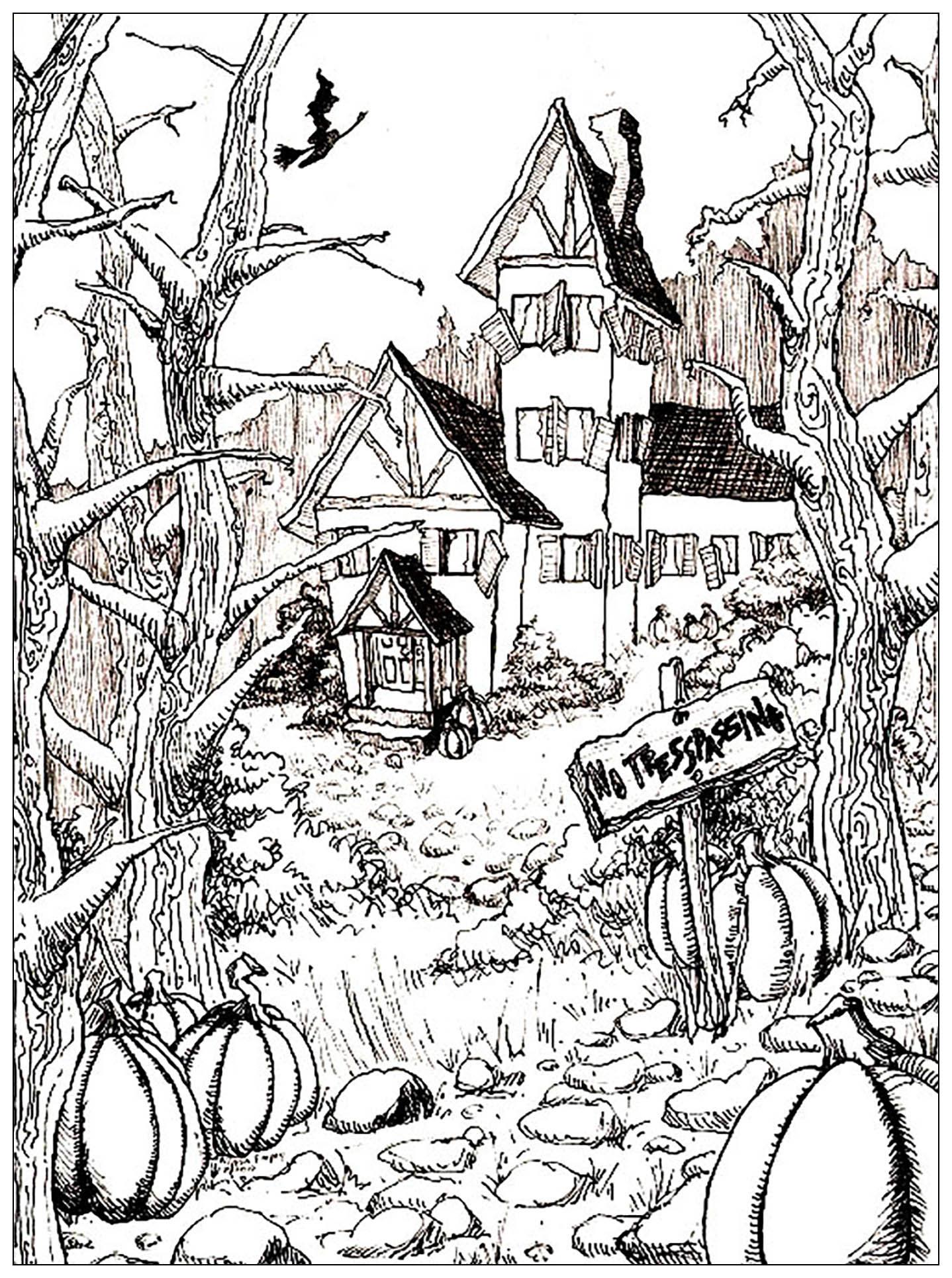 Dessin Maison Campagne Maison Hantee Et Citrouille D Halloween