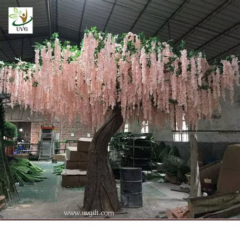 uvg wis  pink huge silk wisteria blossom fake trees