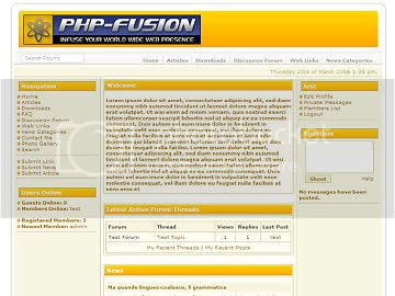 Free php-fusion Yellow and White Theme Template