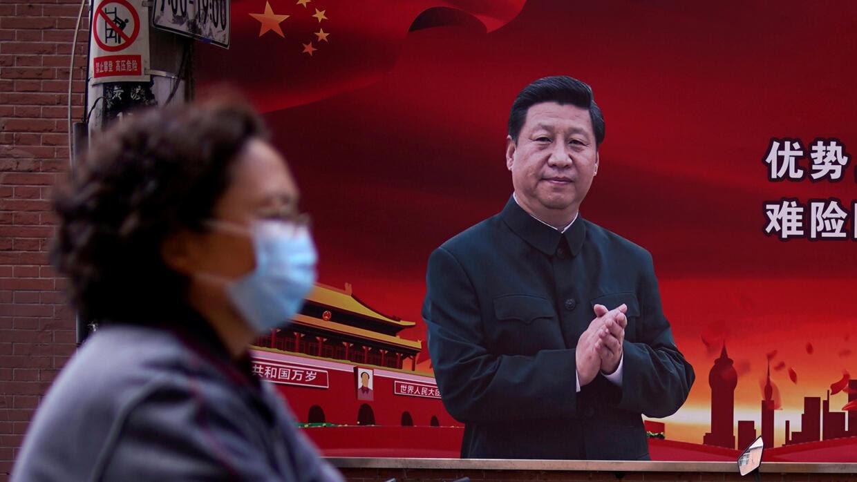 Chân dung áp phích cổ động chủ tịch Trung Quốc Tập Cận Bình tại Thượng Hải, ngày 12/03/2020.