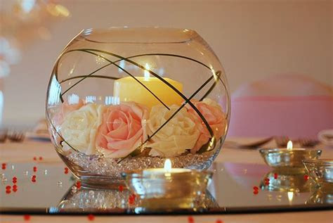 flowers and crystals arrangements   Wedding table centre