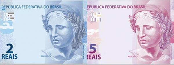 Novas notas de R$ 2 e R$ 5 começam a circular na segunda-feira