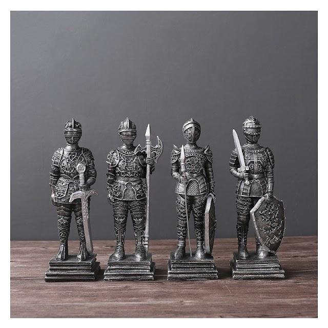 Kopen Goedkoop Europa Stijl Retro Hars Romeinse Soldaat Miniatuur Middeleeuwse Ridders Heavy Infantry Beeldjes Home Decor Army Groep Kinderen Geschenken Online