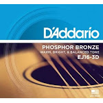 D'Addario EJ16-3D Phosphor Bronze Acoustic Guitar Strings, Pack Of 3 Sets