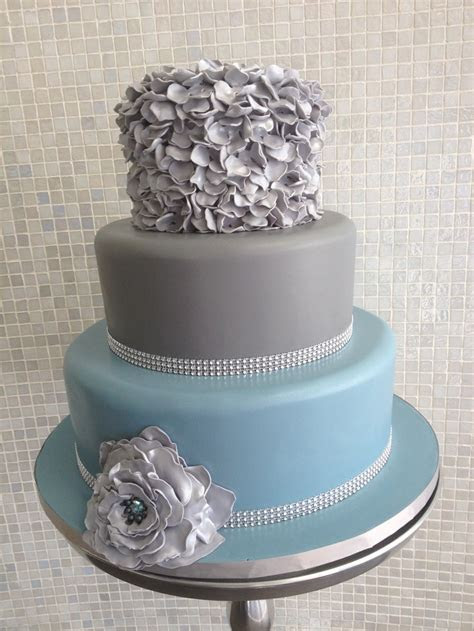 Blue and grey ruffle cake with crystal banding   Wedding