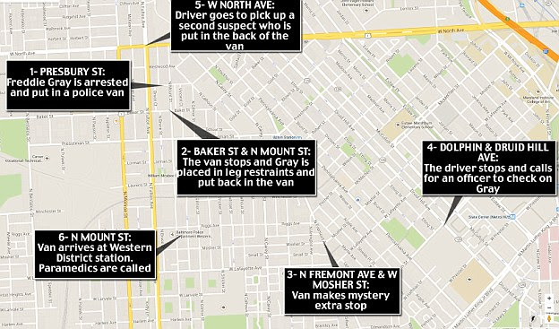Route: According to police, these are the stops the van made while transporting Gray to the station