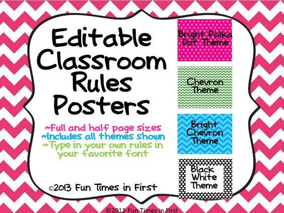 Classroom Rules Posters {Editable~4 themes} | Classroom decor ...