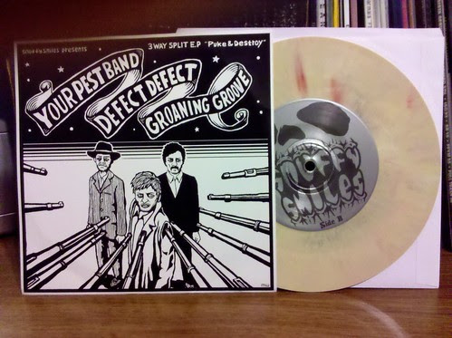 "Your Pest Band / Defect Defect / Groaning Grove - 3 Way Split 7"" - Yellow Vinyl"