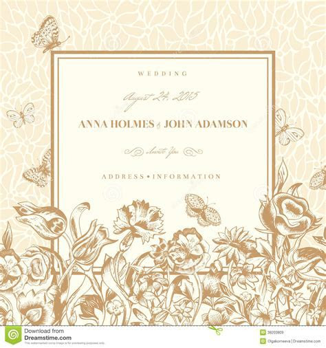 Wedding Card With A Light Beige Vintage Background Cartoon