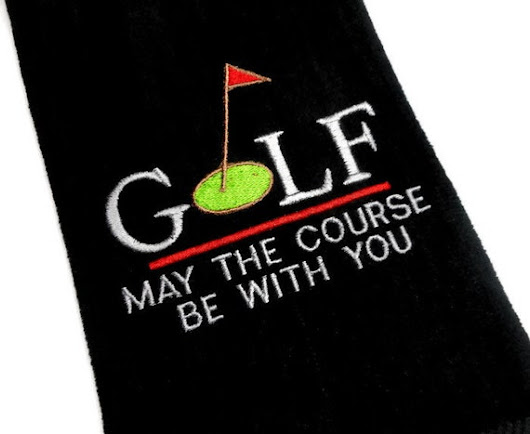Golf towel, May the course, be with you, gift for her, gift for him, personalize golf, birthday gift, retirement gift, embroidered towel