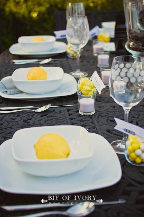 yellow and gray wedding lemons and plates