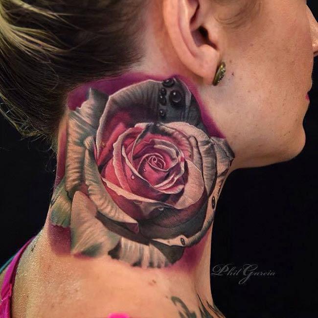 Rose Neck Tattoo Best Tattoo Design Ideas