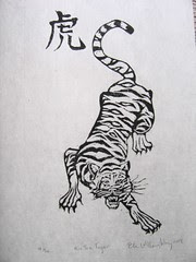 Hu: The Tiger, limited edition linocut