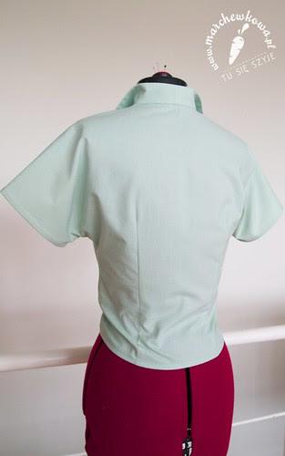 marchewkowa, blog, szafiarka, moda, retro, vintage, szycie, krawiectwo, wykrój, bluzka wiązana, Burda 4/2013, #120, kimonowe rękawy, miętowa bawełna, płótno