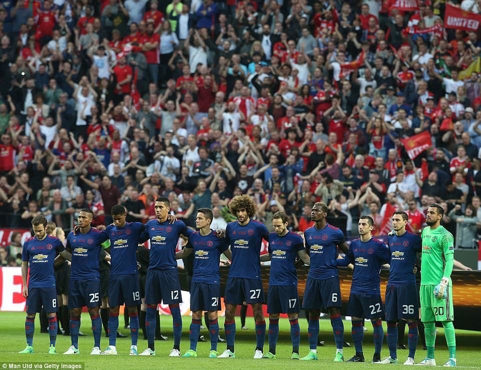 A minute's silence is taken prior to kick-off to honour the victims of the terrorist attack in Manchester on Monday