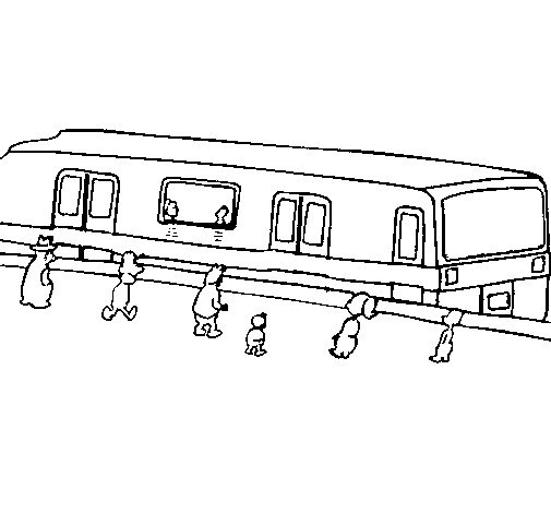 Disegno Di Passeggeri In Attesa Del Treno Da Colorare