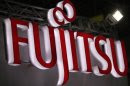 A logo of Fujitsu is pictured at a trade show for Japan's manufacturing industry in Tokyo