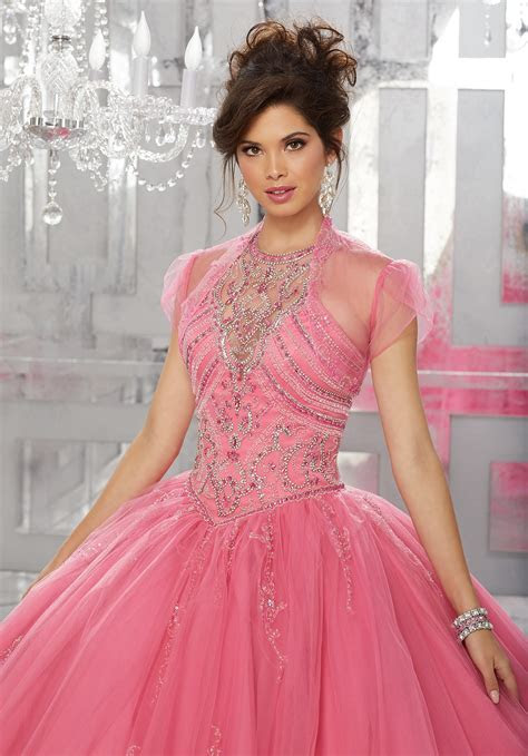 Rhinestone and Crystal Beaded Bodice on Tulle Ball Gown