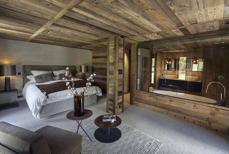 4 contemporary chalet style interior design bedroom glass wall bathroom gray and beige