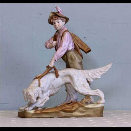 Royal Dux Porcelain Figurine Group of Boy and Dog,