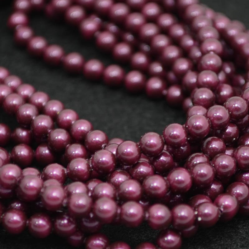 27758101032328 Swarovski Elements Pearl - 4 mm Round Pearl (5810) - Blackberry Pearl (strand 25)