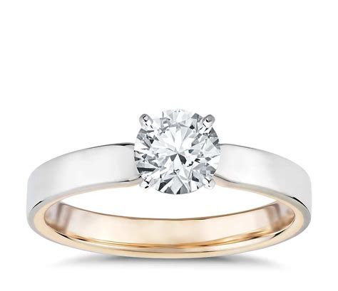 Polish Two Tone Solitaire Diamond Engagement Ring in 14k