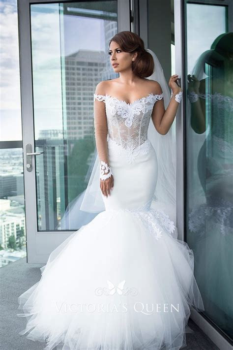 White Lace and Tulle Modern Off the shoulder Mermaid