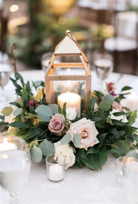 16 Trendy Greenery Wedding Centerpieces with Candles