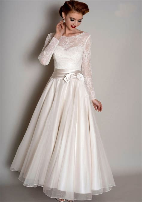 Tea Length Wedding Dresses 50's Short Wedding Dress