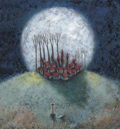 An enchanted village under a full moon...ahhhhhh.