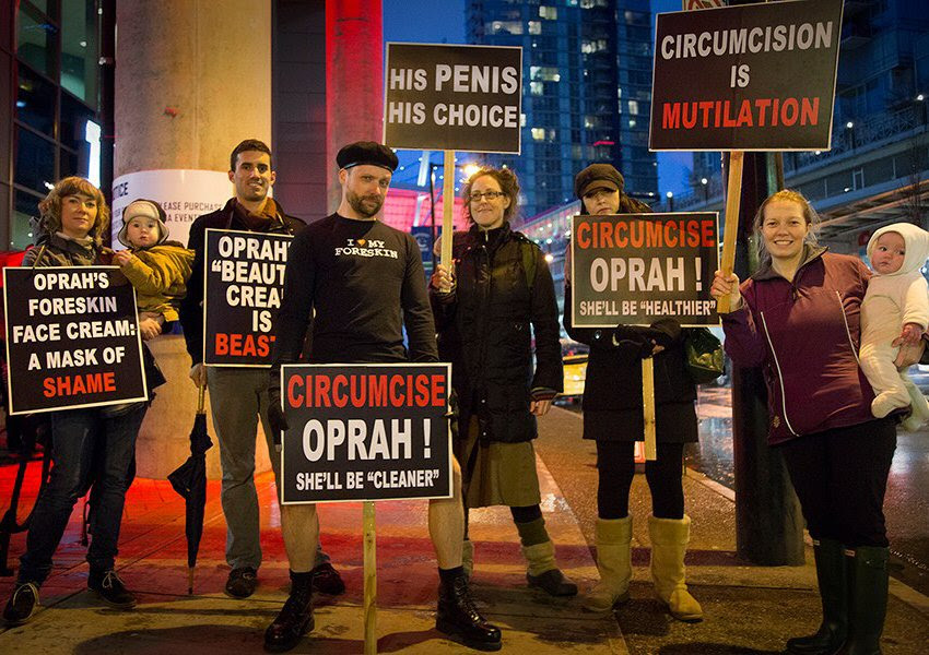 Demonstration against Oprah Winfrey's endoresment of foreskin-based cosmetics