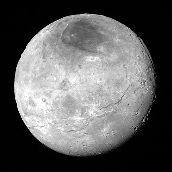 An image of Pluto's moon Charon that was taken by NASA's New Horizons spacecraft from a distance of 290,000 miles (470,000 kilometers)...on July 14, 2015.