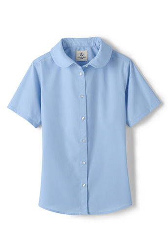 Girls' Short Sleeve Peter Pan Broadcloth Blouse - Light Sea Blue