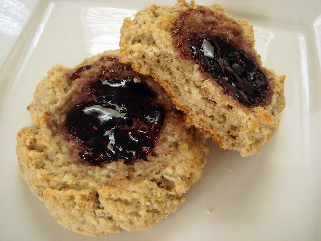 toasted walnut scones with raspberry preserves