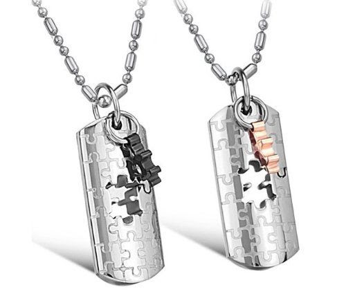 THE MISSING PIECE IN MY LIFE SET: His & Hers Matching Set Titanium Couple Pendant Necklace Korean Love Style in a Gift Box (One Pair) (Hers): Jewelry