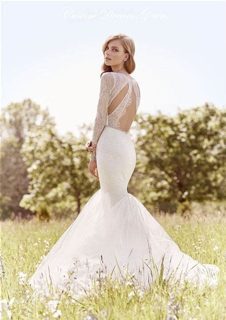 Picture Of mermaid wedding dress with a sheer lace cut out