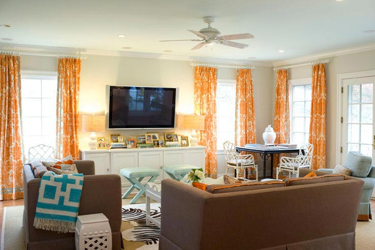 Gina Kates: palmer weiss  orange damask curtains brown linen sofa and hair, urquoise blue x bench ...