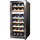 """NewAir AW-211ED 21-Bottle Dual Zone Wine Cooler - 13.5"""" - Stainless Steel/Black"""