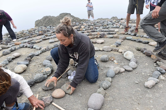 Labyrinth lovers unite to undo vandalism at Lands End