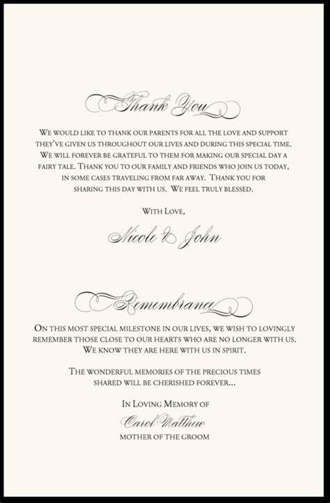 In Remembrance Wedding Program   Wedding Program Thank You