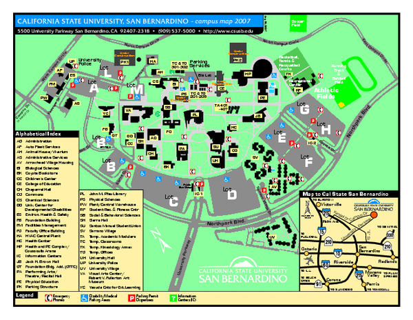 Csusb Campus Map Csusb Campus Map | Color 2018