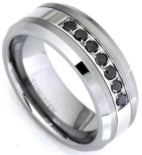 Men's Black Diamond Tungsten Carbide Wedding Band Ring 0