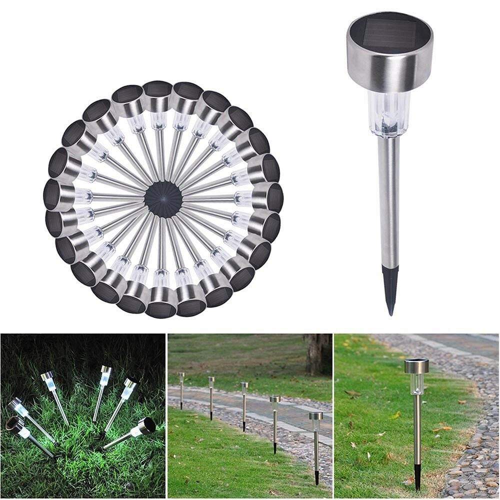 24 Pack Outdoor Stainless Steel LED Solar Power Light Lawn Garden Landscape Path  eBay