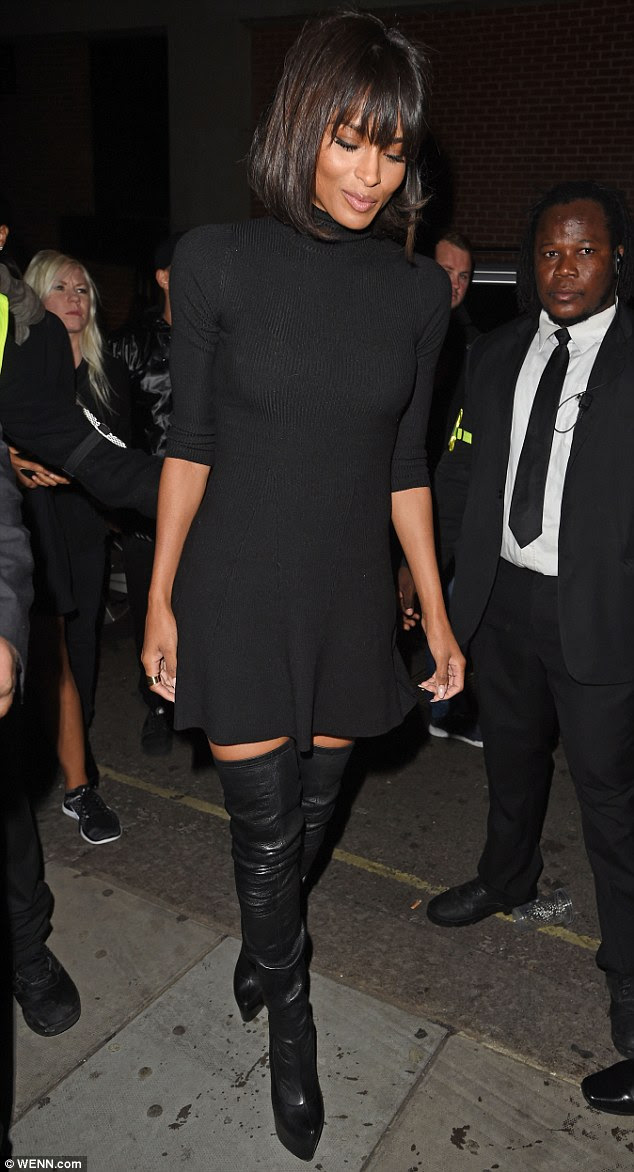 Striking: It's no wonder that singer Ciara, 29, was keen to show off the fruits of her labour as she stunned in a pair of racy, thigh-high boots in London on Wednesday night