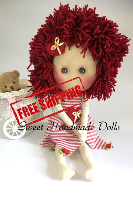 Alice Doll with red striped dress-FREE by SweetHandmadeDolls