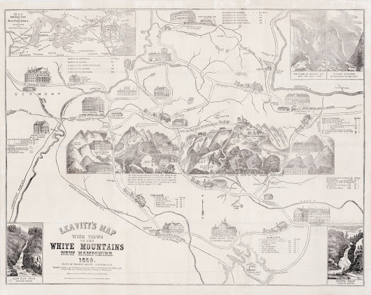 1859 Franklin Leavitt pictorial map of the White Mountains